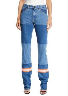 CALVIN KLEIN 205W39NYC Mix Patchwork Straight-Leg Denim Pants