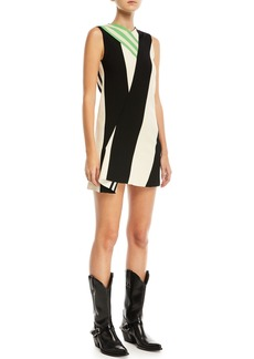 CALVIN KLEIN 205W39NYC Mix-Striped High-Neck Sleeveless Dress