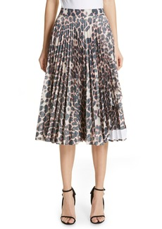 CALVIN KLEIN 205W39NYC Panther Print Pleated Taffeta Skirt