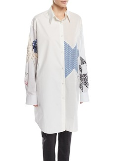 CALVIN KLEIN 205W39NYC Patchwork Button-Front Long-Sleeve Oversized Shirtdress