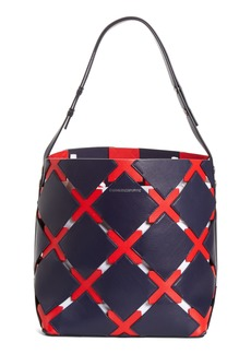 CALVIN KLEIN 205W39NYC Patchwork Quilt Leather Bucket Bag