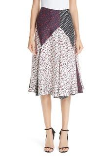 CALVIN KLEIN 205W39NYC Patchwork Silk Tulip Skirt