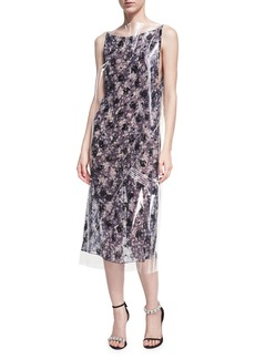 CALVIN KLEIN 205W39NYC Plastic-Covered Floral Slip Dress