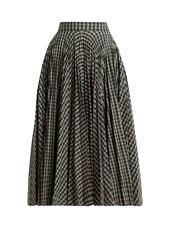 CALVIN KLEIN 205W39NYC Pleated checked jacquard midi skirt