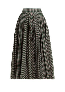 CALVIN KLEIN 205W39NYC Pleated checked jacquard midi skirt