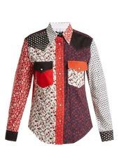 Calvin Klein Point-collar patchwork cotton shirt