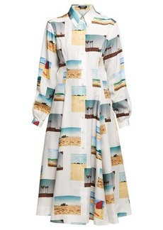 CALVIN KLEIN 205W39NYC Postcard-print silk shirtdress