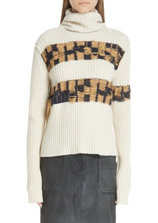 CALVIN KLEIN 205W39NYC Quilt Jacquard Stripe Sweater