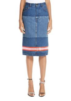 CALVIN KLEIN 205W39NYC Reflective Stripe Mixed Wash Denim Skirt