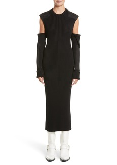 CALVIN KLEIN 205W39NYC Rib Knit Cold Shoulder Dress