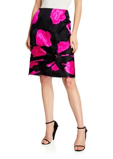 CALVIN KLEIN 205W39NYC Rose-Print Silk Pencil Skirt