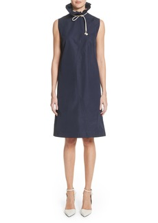 CALVIN KLEIN 205W39NYC Ruffle Neck Poplin Dress