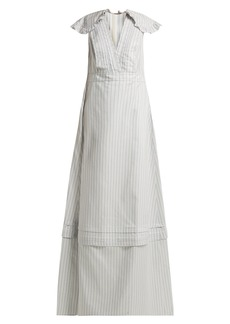 CALVIN KLEIN 205W39NYC Ruffled striped silk-blend gown