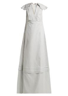 CALVIN KLEIN 205W39NYC Ruffled striped silk-blend gown