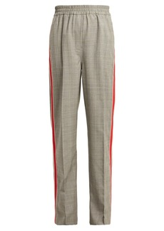 CALVIN KLEIN 205W39NYC Side-stripe straight-leg checked wool trousers