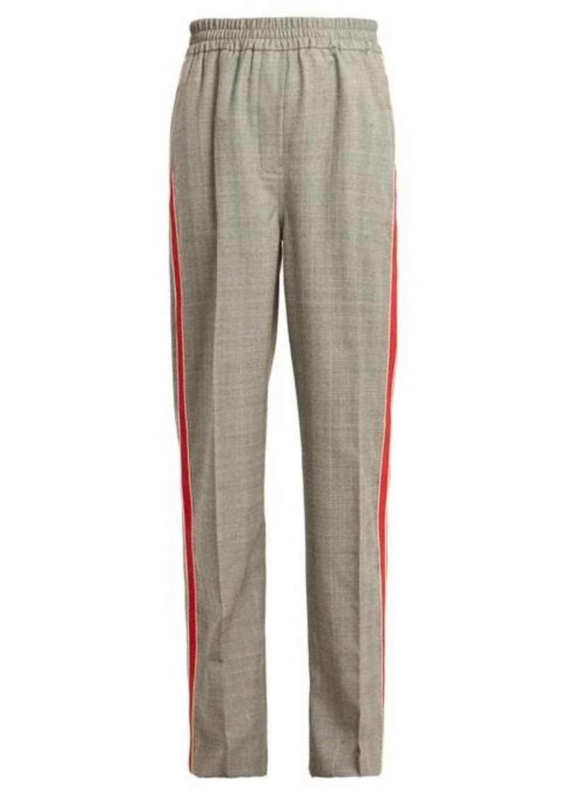 Calvin Klein Side-stripe straight-leg checked wool trousers