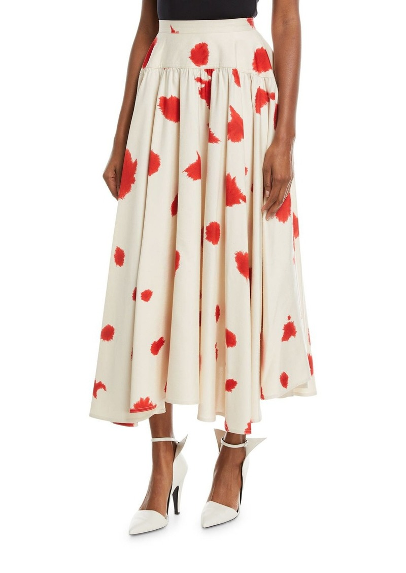 CALVIN KLEIN 205W39NYC Silk Shantung Printed Flared Skirt