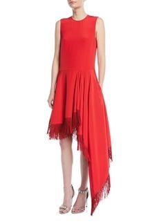 CALVIN KLEIN 205W39NYC Sleeveless A-Line Silk Dress w/ Fringe Hem