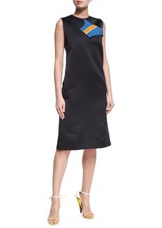 CALVIN KLEIN 205W39NYC Sleeveless Midi Dress with Striped Neckline