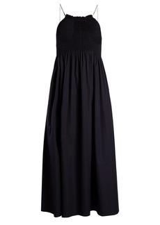 CALVIN KLEIN 205W39NYC Sleeveless smocked-bodice cotton-poplin midi dress