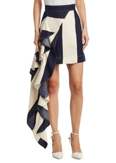 Calvin Klein Draped Asymmetric Silk Skirt