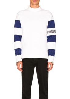 CALVIN KLEIN 205W39NYC Striped Sleeve Mock Tee