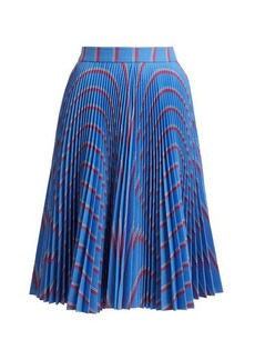 Calvin Klein Wavy stripe-print pleated midi skirt