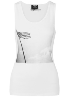 Calvin Klein 205w39nyc Woman + Andy Warhol Foundation Printed Ribbed Stretch-cotton Jersey Tank White