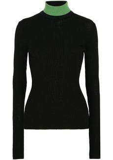Calvin Klein 205w39nyc Woman Appliquéd Ribbed Wool-blend Turtleneck Sweater Black