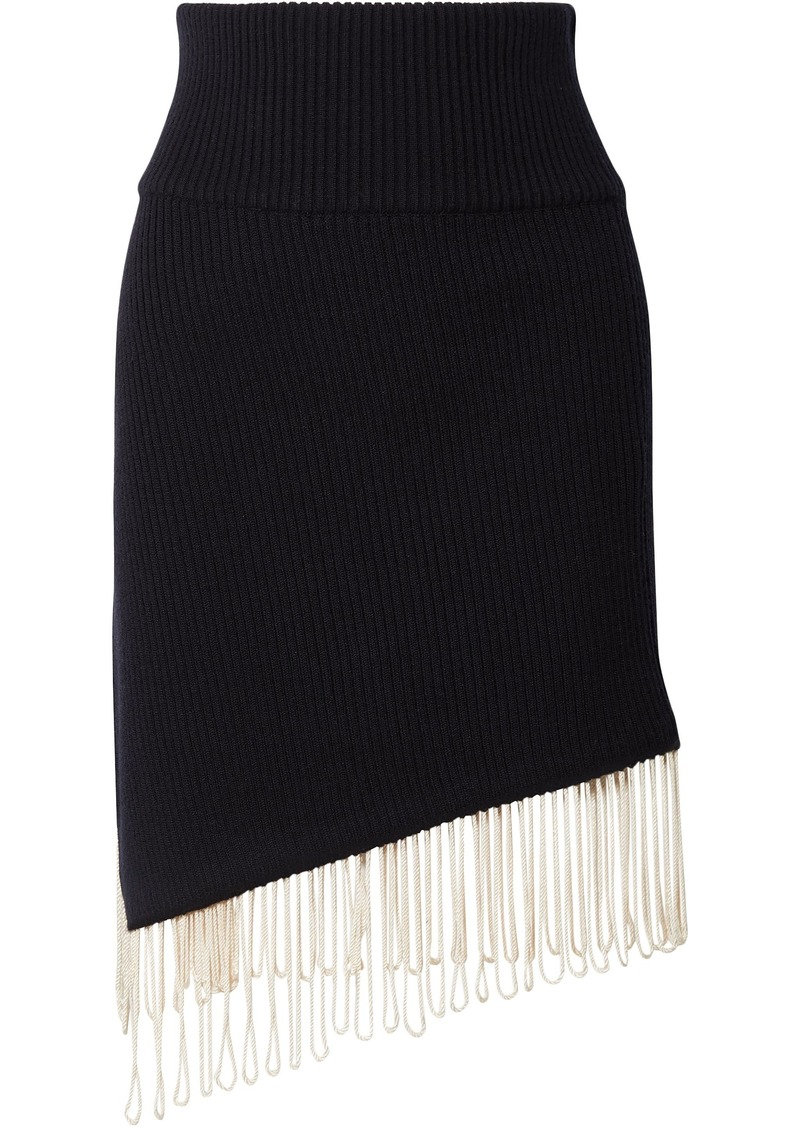 Calvin Klein 205w39nyc Woman Asymmetric Fringe-trimmed Ribbed Wool-blend Skirt Midnight Blue