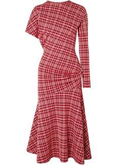 Calvin Klein 205w39nyc Woman Asymmetric Prince Of Wales Checked Cady Midi Dress Brick