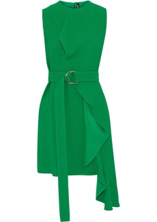 Calvin Klein 205w39nyc Woman Belted Ruffled Crepe Mini Dress Green