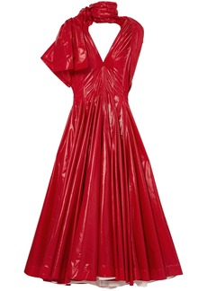 Calvin Klein 205w39nyc Woman Bow-detailed Pleated Vinyl Maxi Dress Red