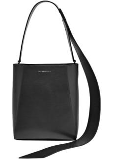 Calvin Klein 205w39nyc Woman Buck Stripe Suede-paneled Leather Shoulder Bag Black