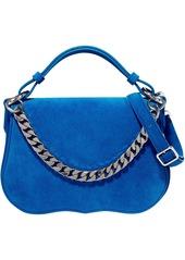 Calvin Klein 205w39nyc Woman Chain-trimmed Suede Shoulder Bag Blue