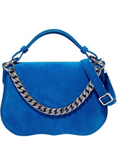 Calvin Klein 205w39nyc Woman Chain-trimmed Suede Shoulder Bag Blue