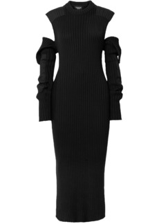 Calvin Klein 205w39nyc Woman Cold-shoulder Open-back Ribbed Cotton-blend Midi Dress Black