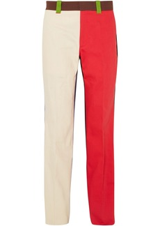Calvin Klein 205w39nyc Woman Color-block Cotton-twill Straight-leg Pants Multicolor