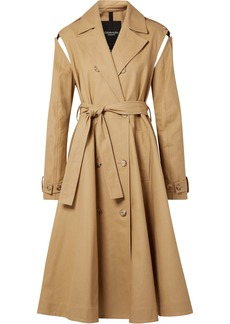 Calvin Klein 205w39nyc Woman Convertible Double-breasted Cotton-twill Trench Coat Sand