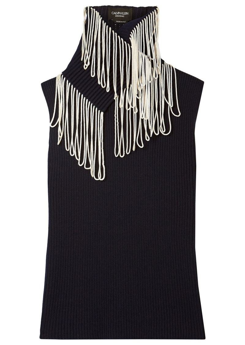 Calvin Klein 205w39nyc Woman Convertible Fringed Ribbed-knit Turtleneck Sweater Midnight Blue