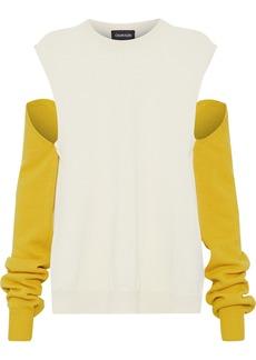 Calvin Klein 205w39nyc Woman Convertible Two-tone Wool Sweater Ecru