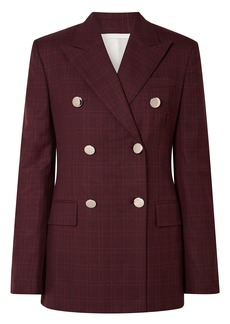 Calvin Klein 205w39nyc Woman Double-breasted Prince Of Wales Checked Wool And Silk-blend Blazer Burgundy