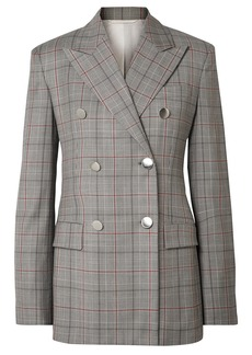Calvin Klein 205w39nyc Woman Double-breasted Prince Of Wales Checked Wool Blazer Gray