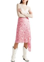 Calvin Klein 205w39nyc Woman Draped Metallic Embroidered Lace Skirt Pink