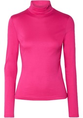 Calvin Klein 205w39nyc Woman Embroidered Stretch Cotton-jersey Turtleneck Top Fuchsia