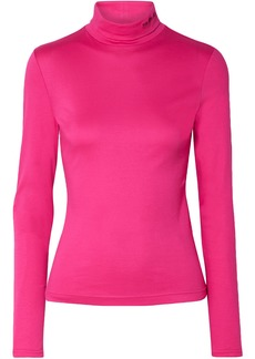 Calvin Klein 205w39nyc Woman Embroidered Stretch Cotton-jersey Turtleneck Top Fuchsia