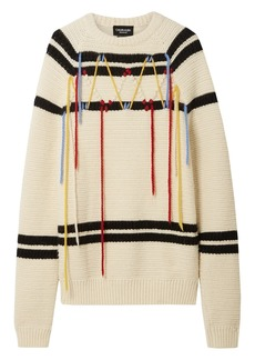 Calvin Klein 205w39nyc Woman Embroidered Striped Wool Sweater Ivory
