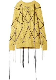 Calvin Klein 205w39nyc Woman Embroidered Wool And Mohair-blend Sweater Mustard