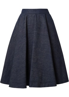 Calvin Klein 205w39nyc Woman Flared Pleated Denim Skirt Dark Denim