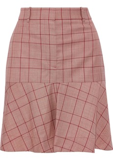 Calvin Klein 205w39nyc Woman Fluted Prince Of Wales Checked Wool Mini Skirt Red